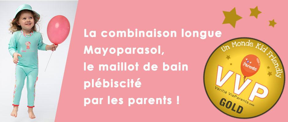 La combinaison longue anti uv mayoparasol est la protection solaire préférée des parents !
